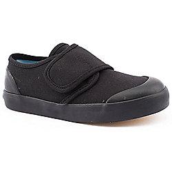 Boy Junior Start-Rite Skip Velcro Black Plimsolls