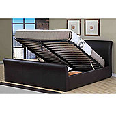 Boston Brown Leather King 5ft Lift Up Storage Bed