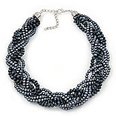Luxurious Braided Dark Grey Bead Choker Necklace In Silver Plating - 36cm Length/5cm Extension