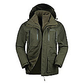 Mountain Warehouse Correspondent Extreme Mens 3 in 1 Waterproof Jacket - Green