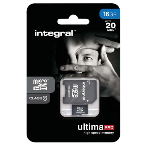 Integral microSDHC 16GB Class 10 Card + SD Adapter