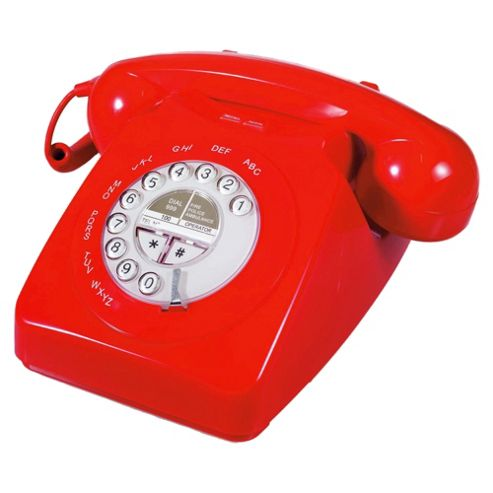 Geemarc Mayfair Retro Style Two Piece Corded Telephone - Red