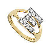 Jewelco London 9ct Gold Ladies' Identity ID Initial CZ Ring, Letter E - Size L