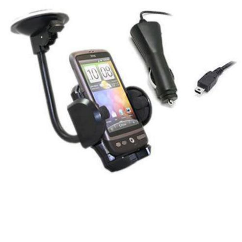 iTALKonline In Car Suction Mount Holder and Car Charger - For HTC Desire
