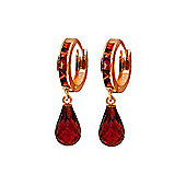QP Jewellers 5.35ct Garnet Droplet Huggie Earrings in 14K Rose Gold