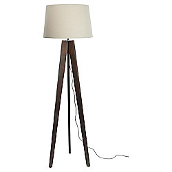 Tesco Tripod Floor Lamp, Walnut/Linen Shade