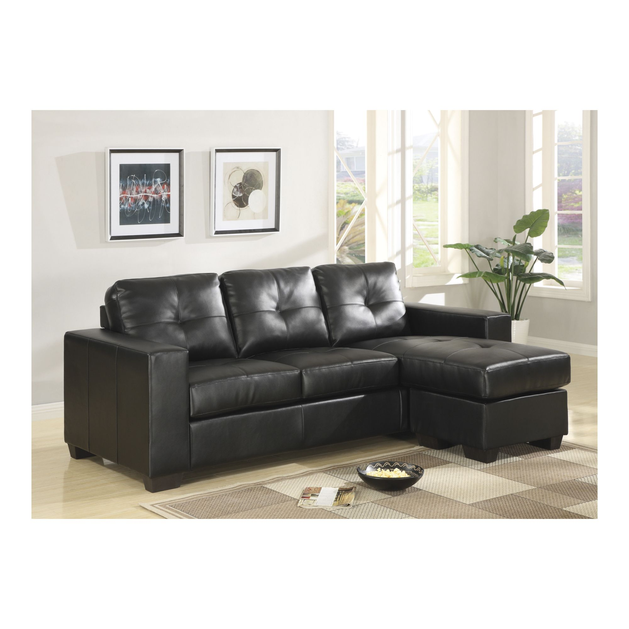 Furniture Link Gemona L Sofa in Black at Tesco Direct
