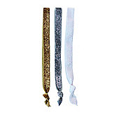 3 Glitter Head Bands - HairTyes Hair Ties Fabric No Stretch