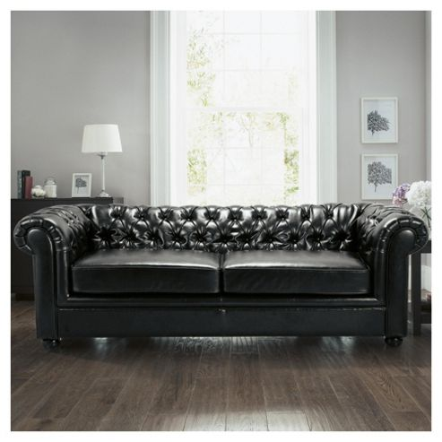 Chesterfield Leather Sofa Bed, Black