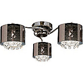 Endon Lighting Chrome Semi Flush Mount with Plastic Shade in Smoked Glass Effect
