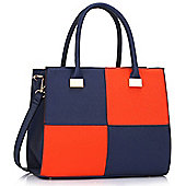 KCMODE Womens Blue / Orange Fashion Tote Handbag