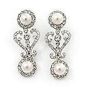 Bridal Wedding Prom Glass Pearl, Crystal Drop Earrings In Rhodium Plating - 45mm Length