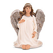 Traditional Look Sitting Resin Christmas Angel Ornament