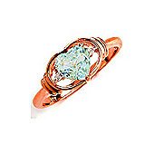 QP Jewellers Diamond & Aquamarine Halo Heart Ring in 14K Rose Gold - Size T