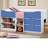 Happy Beds Paddington Cabin Bed 3ft Wooden Blue and White Drawers Kids Orthopaedic Mattress