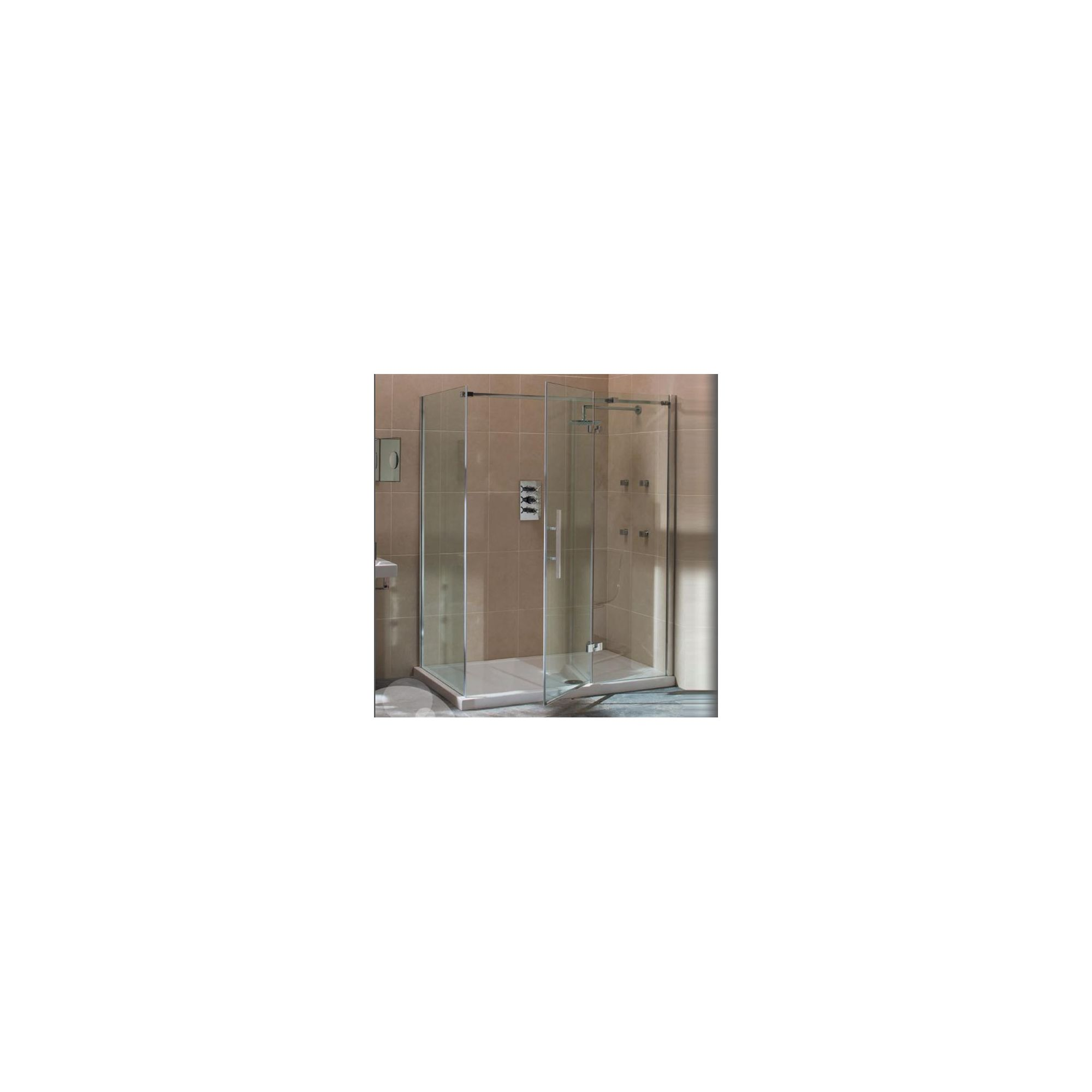 Merlyn Vivid Nine Hinged Door Shower Enclosure with Inline Panel, 1600mm x 800mm, Right Handed, Low Profile Tray, 8mm Glass at Tesco Direct