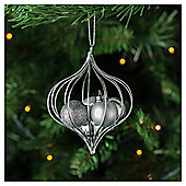 Tesco Silver Glitter Bauble Hanging Decoration
