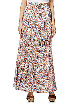 F&F Ditsy Floral Print Tiered Maxi Skirt - Multi