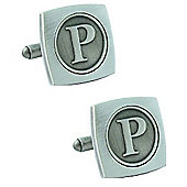 Antiqued Silver Plated Initial - P Cufflink - Single
