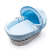 Kinder Valley White Wicker Moses Basket (Waffle Blue)