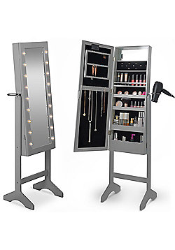 Beautify Make Up & Jewellery Floor Standing Storage Mirror - Grey