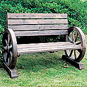 Solid Wood Garden Bench - Burntwood
