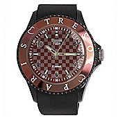 Tresor Paris Watch 018786 - Stainless Steel Bezel - Silicone Strap - Diamond Set Dial - 44mm - Chocolate Brown
