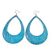 Woven Teardrop Statement Hoop Earrings (Azure Blue) - 10.5cm Length