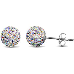 Jewelco London Sterling Silver Crystal 8mm aurora borealis (rainbow) Shamballa Earrings