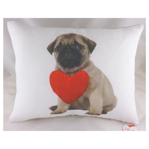 Pug Heart Cushion