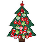 Large Fabric Bauble Christmas Tree Advent Calendar with Jingle Bells