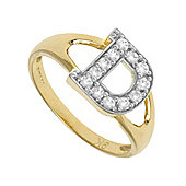 Jewelco London 9ct Gold Ladies' Identity ID Initial CZ Ring, Letter D - Size L