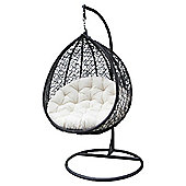 Bentley Garden Rattan Hanging Swing Chair - Black & Cream