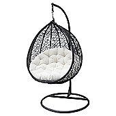Bentley Garden Rattan Hanging Swing Chair - Black & Cream