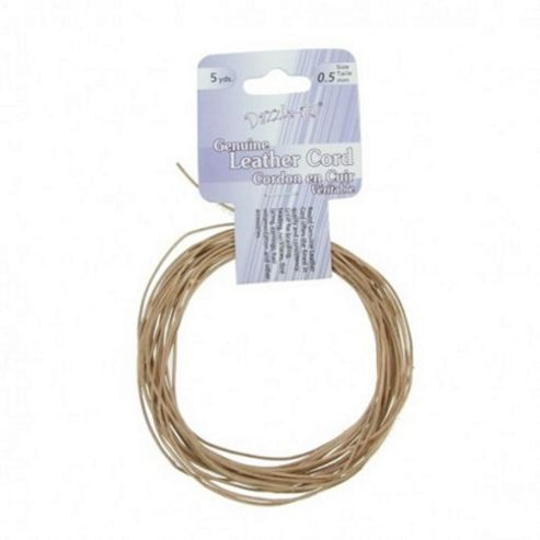 Leather Cord 0.5mm Round Natural 5yds