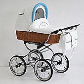 Scarlett Retro Baby 3in1 Travel System - Blue - White Wicker