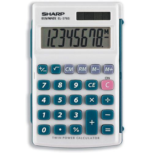 Sharp Calculator Handheld Battery Solar-power 8 Digit 4 Key Memory 72x115x12mm Ref EL376SB