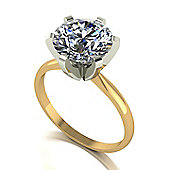 18ct Gold 9.0mm Round Brilliant Moissanite Single Stone Ring