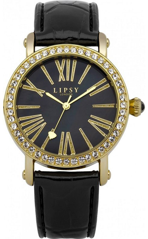 Lipsy Ladies Crystal Set Black Leather Watch - LP101