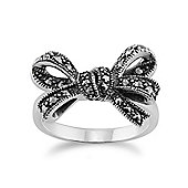 Gemondo 925 Sterling Silver 0.32ct Marcasite Set Ribbon Ring