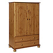 Valufurniture Copenhagen Pine 2 Door 2 Drawer Wardrobe