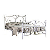 Comfy Living 4ft6 Double Crystal Finial Metal Bed Frame in White