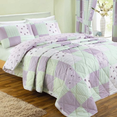 Dreams 'N' Drapes Patchwork Bedding Set in Lilac - Double