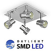 Modern Four Way Square Daylight LED Ceiling Spotlight in Brushed Chrome