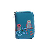 Blue Owl Applique Zip Up Purse