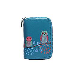 Blue Owl Applique Zip Up Purse