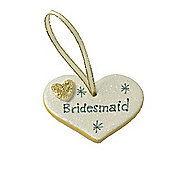 Bridesmaid Gold Sparkle Heart Wedding Keepsake