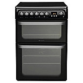 Hotpoint HUE61KS, Ultima, Freestanding, Electric Cooker, 60cm, Black,  Twin Cavity, Double Oven