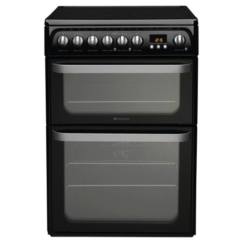 Hotpoint HUE61KS Black Electric Cooker, Double Oven
