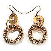 Gold Tone Mesh Hoop Drop Earrings